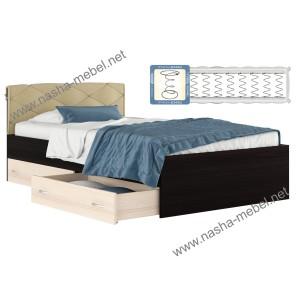 Кровать Виктория-П_ 1200 с ящиками и матрасом