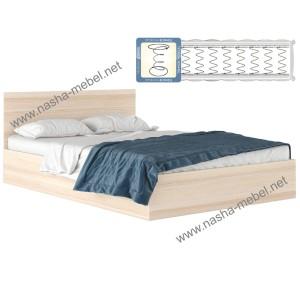 Кровать Виктория 140 дуб с матрасом