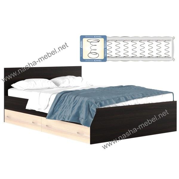 Виктория 1400 кровать с ящиком и матрасом