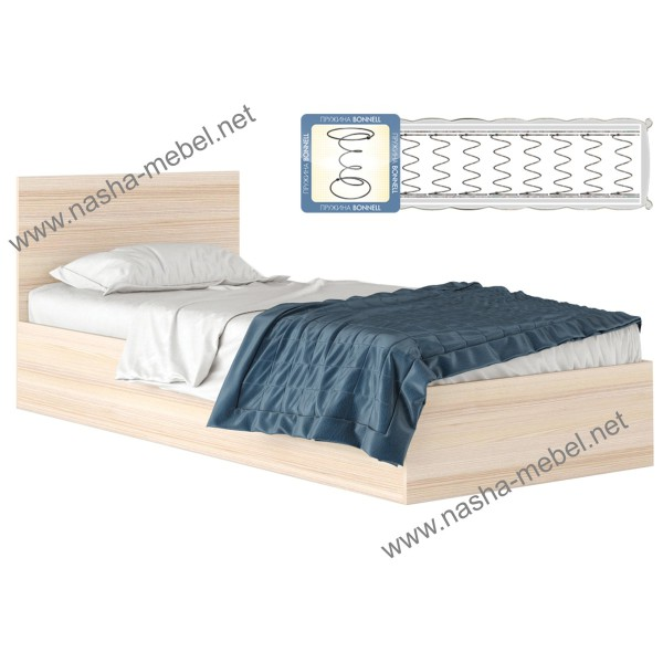 Кровать Виктория 900 дуб с матрасом
