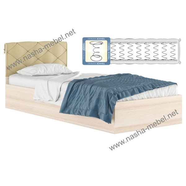 Кровать Виктория 90 дуб с подушкой и матрасом