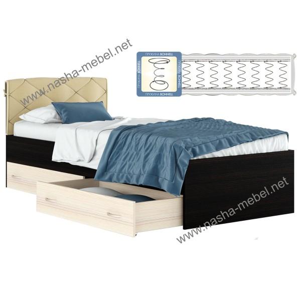 Кровать Виктория-П с матрасом и ящиками