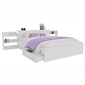 Кровать Доминика с выдвижным блоком белая 140