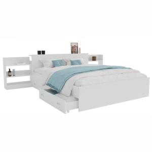 Кровать Доминика с выдвижным блоком белая 160,180 с ящиком